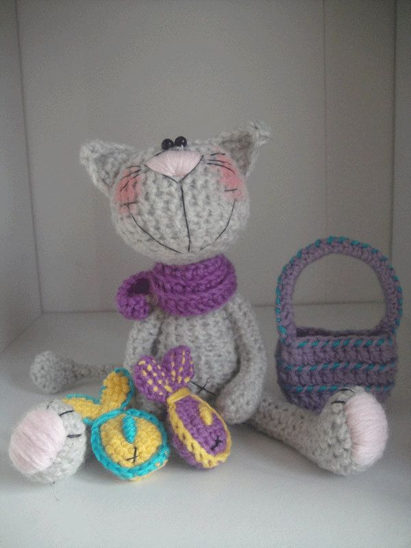 Crochet gray cat + basket + fish - pattern PDF document | Fisch ...
