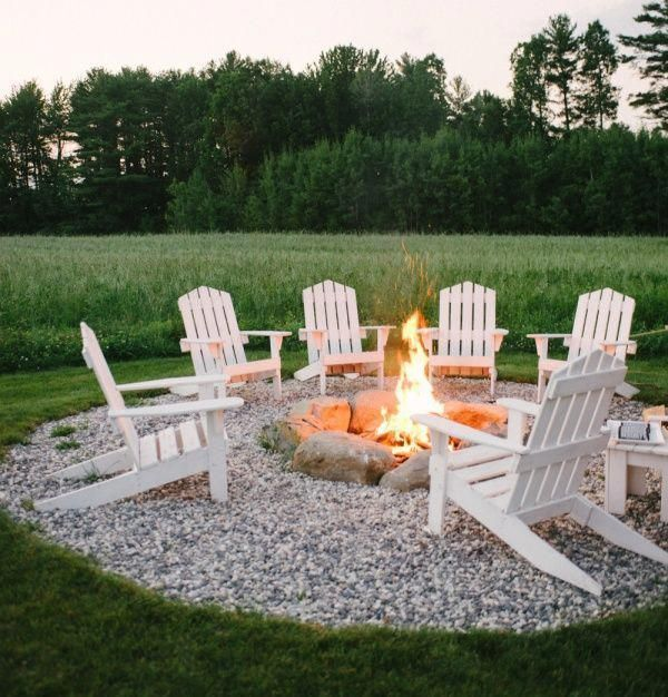 adirondack chairs around an outdoor fire pit rh pinterest com