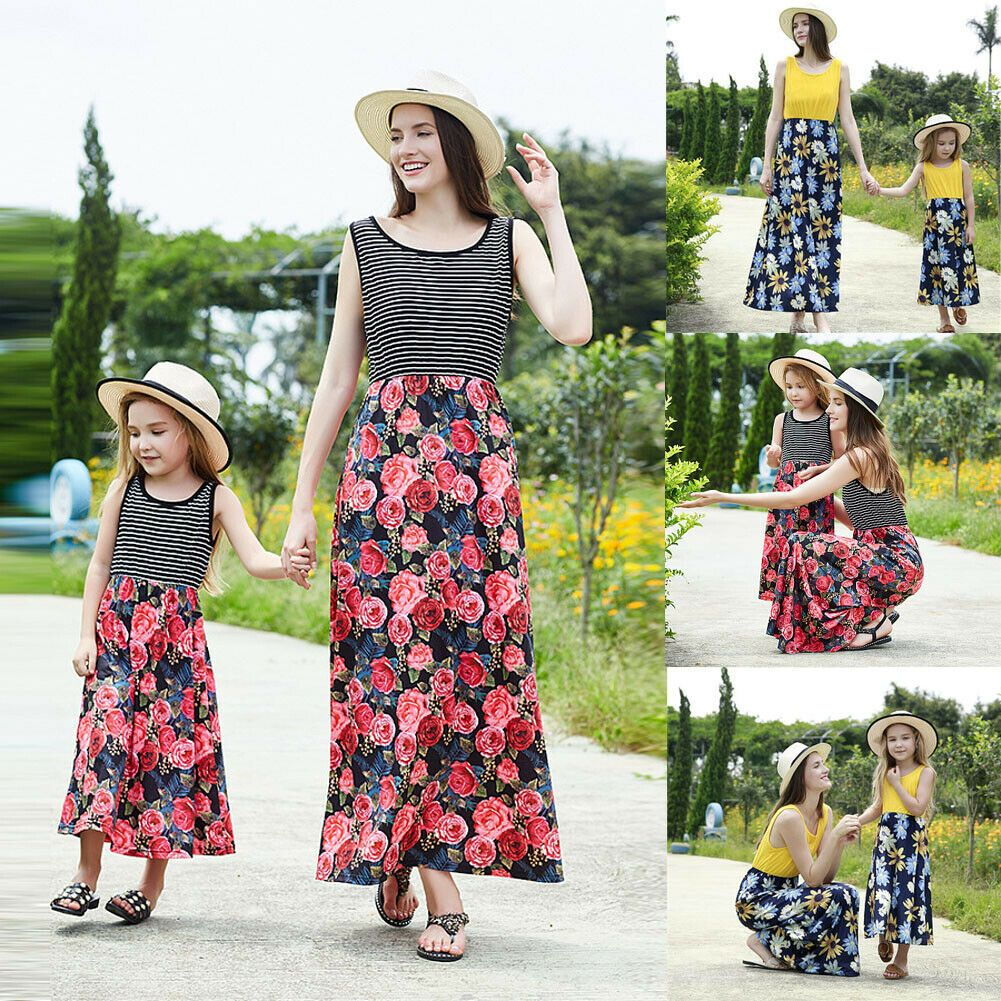 Mother and Daughter Floral Long Dress Matching Women Girls Casual Family Clothes