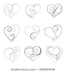 Abstract vector illustration of floral elegant hearts hand drawn set black objects isolated on white background for wedding valentine day design eps also rh pinterest
