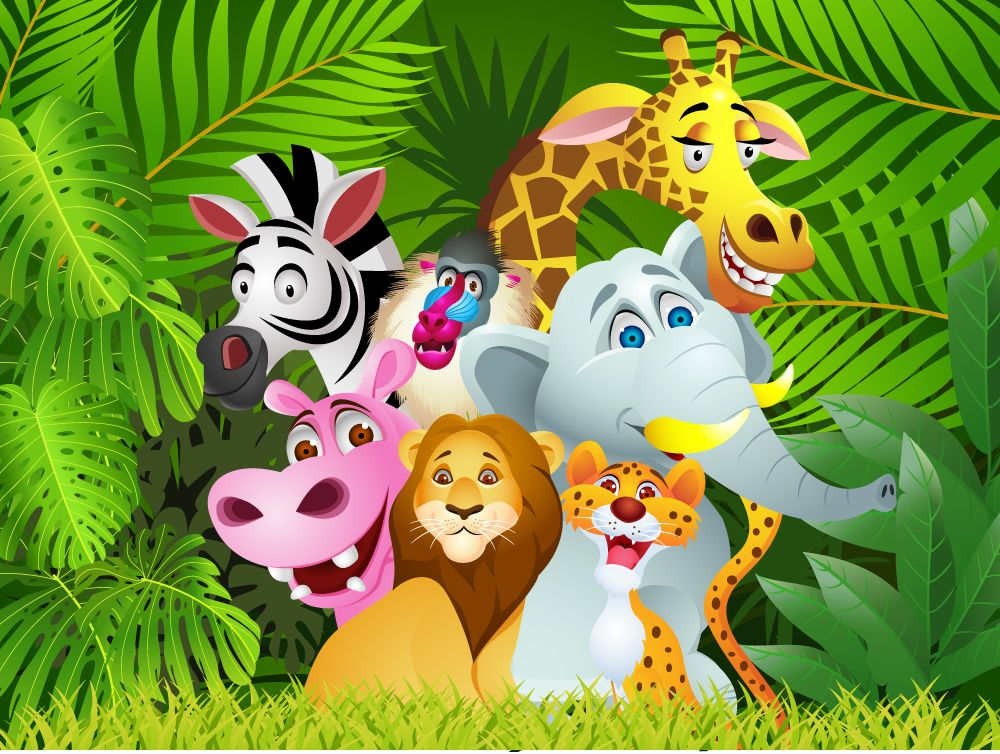 Cartoon Jungle Animals Children's Wall Mural ohpopsi
