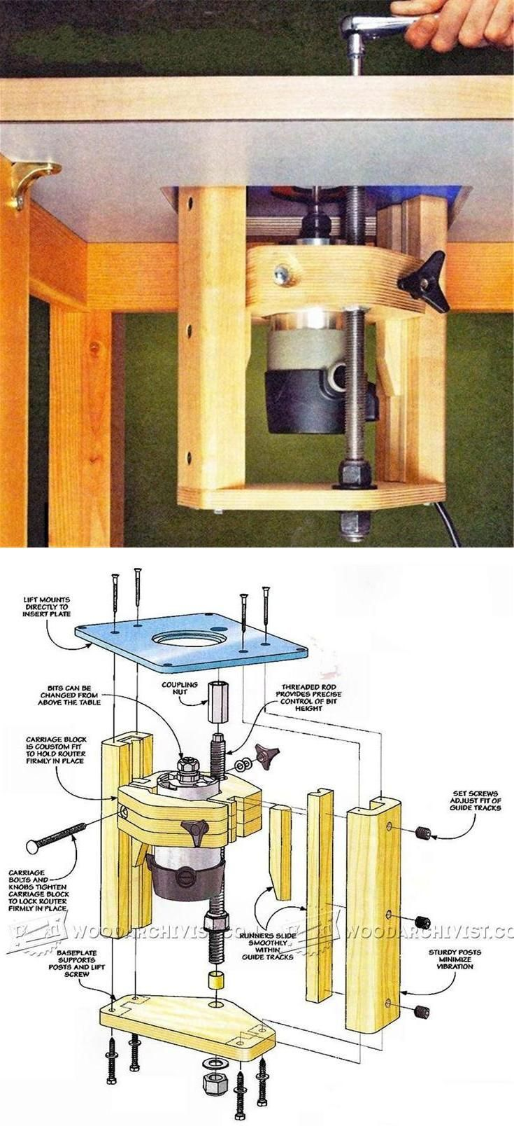 Homemade router table top  Router Table Lift Plans  Router Tips Jigs and Fixtures