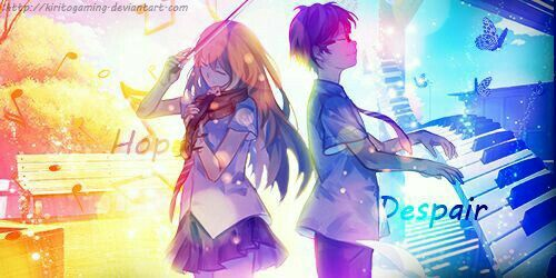 Hope Despair Text Kaori Kousei Playing Violin Piano Your Lie In April Your Lie In April Anime Shows April Art