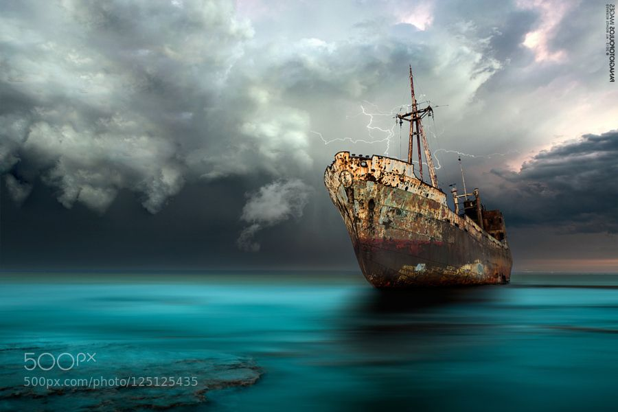 Resting in peace . mirrored - Pinned by Mak Khalaf A composition of 4 images City and Architecture boatdimitriospeloponneseseashipshipwreckwater by Atha_Pana