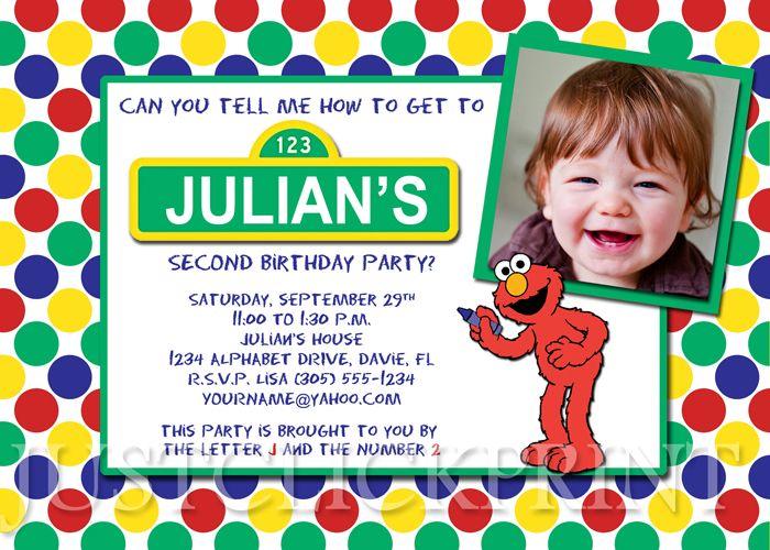 sesame street birthday invitation wording - google search | sesame, Party invitations
