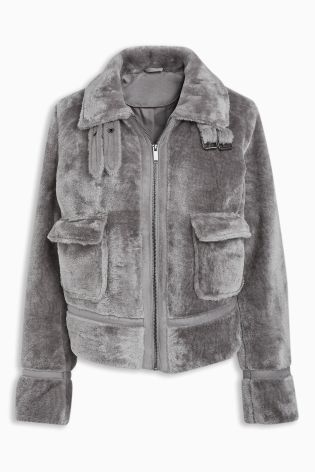 7d4865b56 Buy Grey Faux Fur Trucker Jacket from the Next UK online shop ...