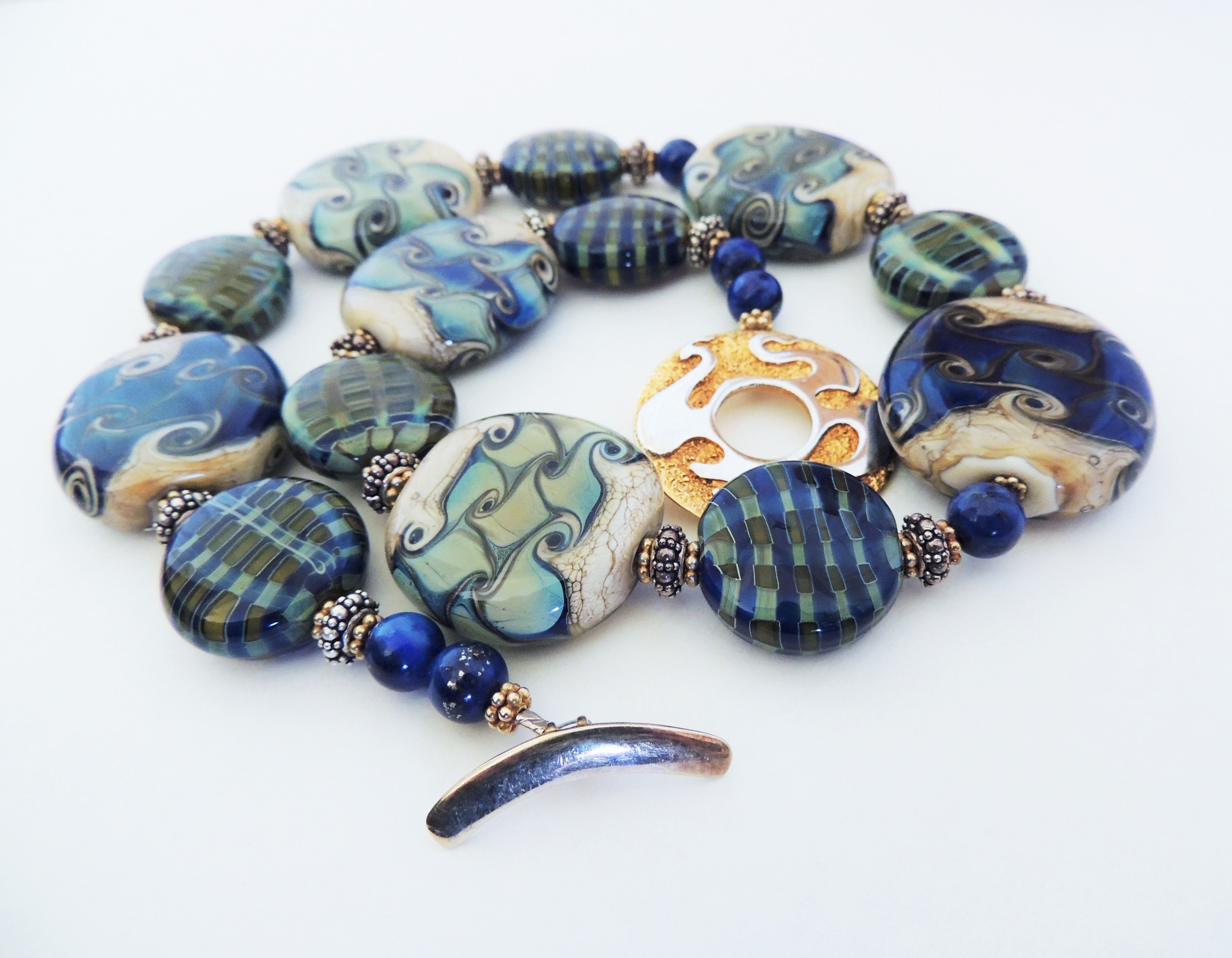 Stunning large artisan lampwork beads with sterling silver and gold vermeil.  This necklace is stunning!