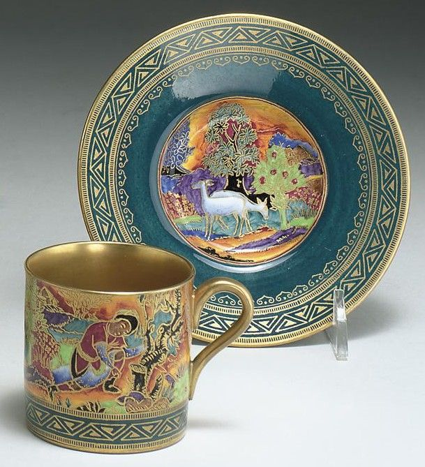 """Cup and Saucer c1930`Nizami'Cup 2 ¼"""" h. .Oct'03. Sotheby's. $6,600"""