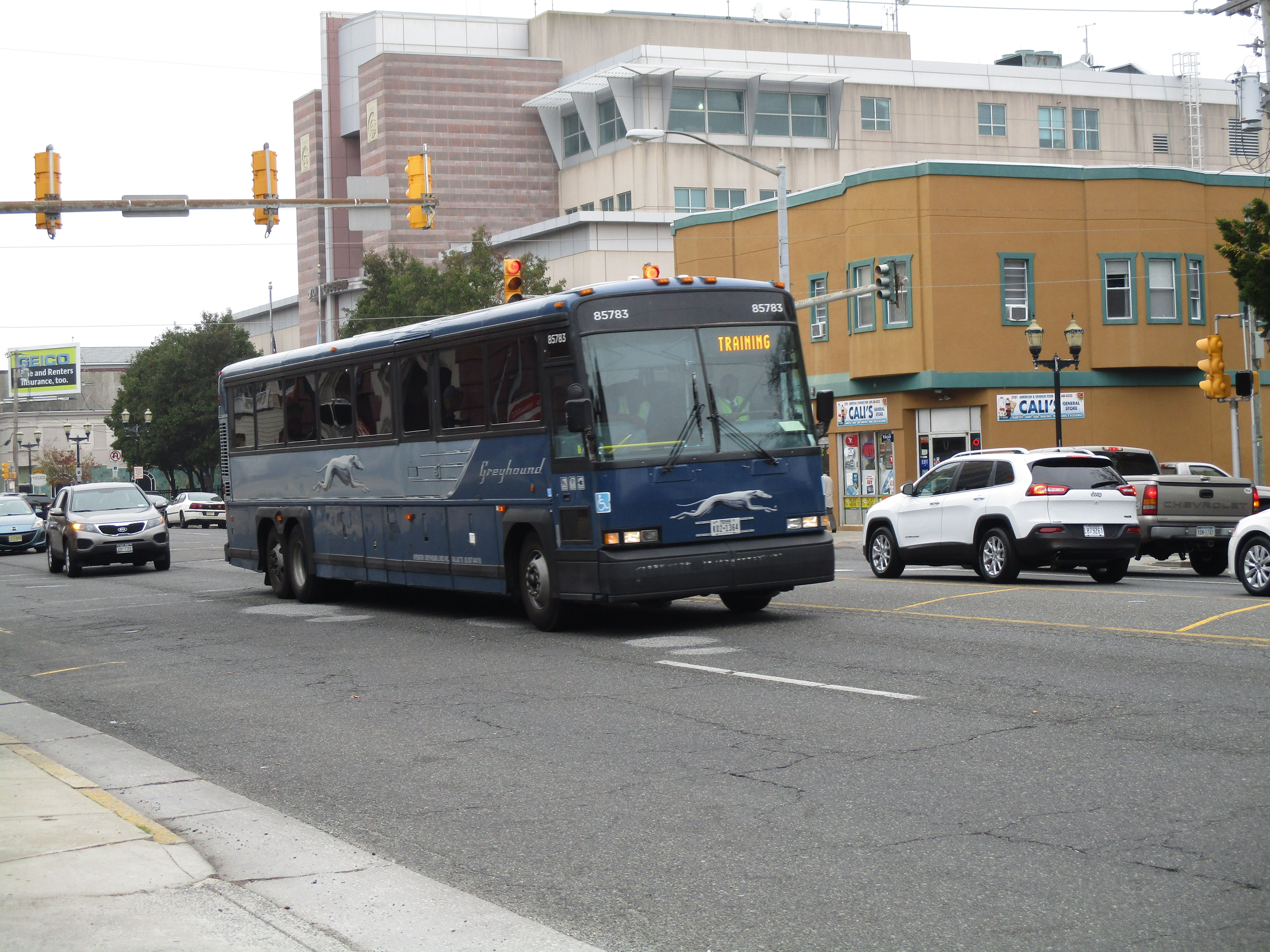 Greyhound MCI bus on Atlantic Ave. in Atlantic City,NJ