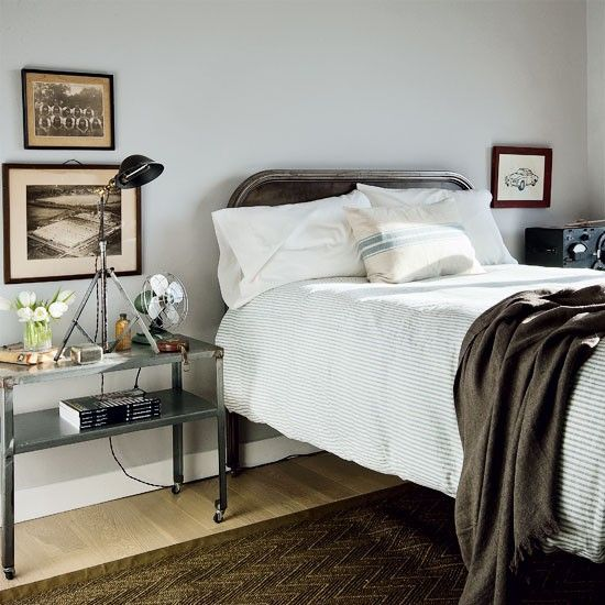Masculine Vintage Bedroom: Metal Bed Frame, Ticking Bedding, Industrial Lamp