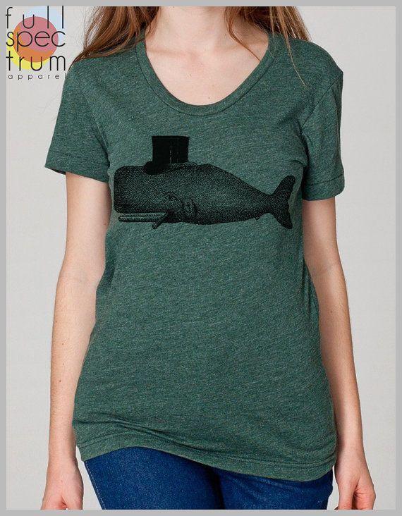 dbb076c02 Whale Women's T Shirt Tophat American Apparel S, M, L, XL 8 Colors ...