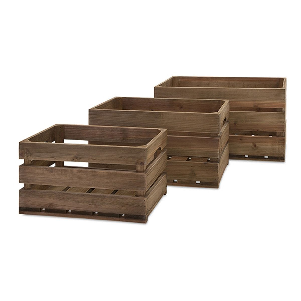 Ainsley Wood Crates, Set of 3