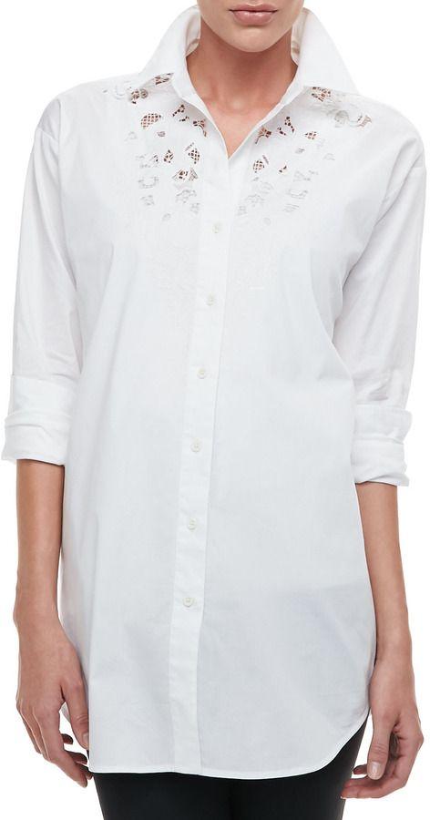 8e376ebba70c04 Go Silk Silk Big Shirt with Lace, Petite on shopstyle.com | all ...