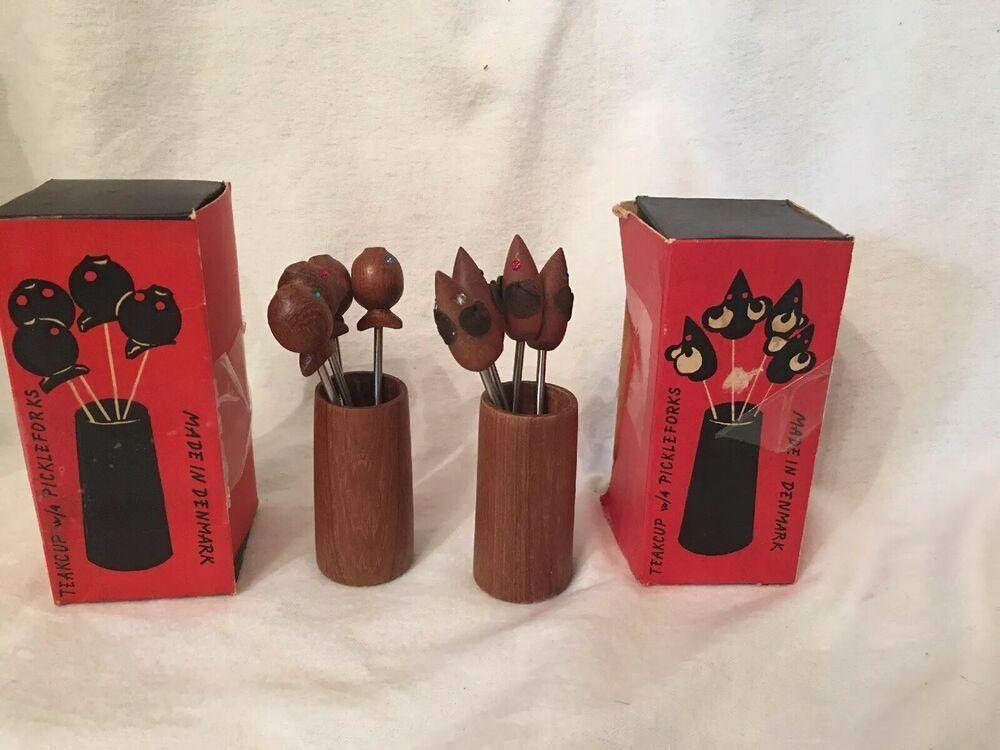 Vintage  MCM Teak Wood Mice Cheese Hors d/'oeuvres Picks