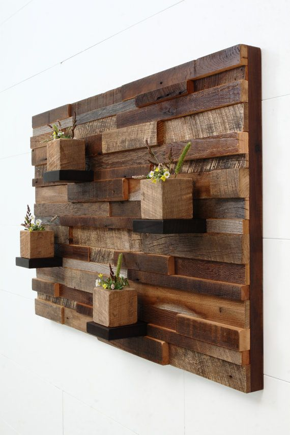 Reclaimed Wood Wall Art 37x24x5 Large Art Floating Shelves
