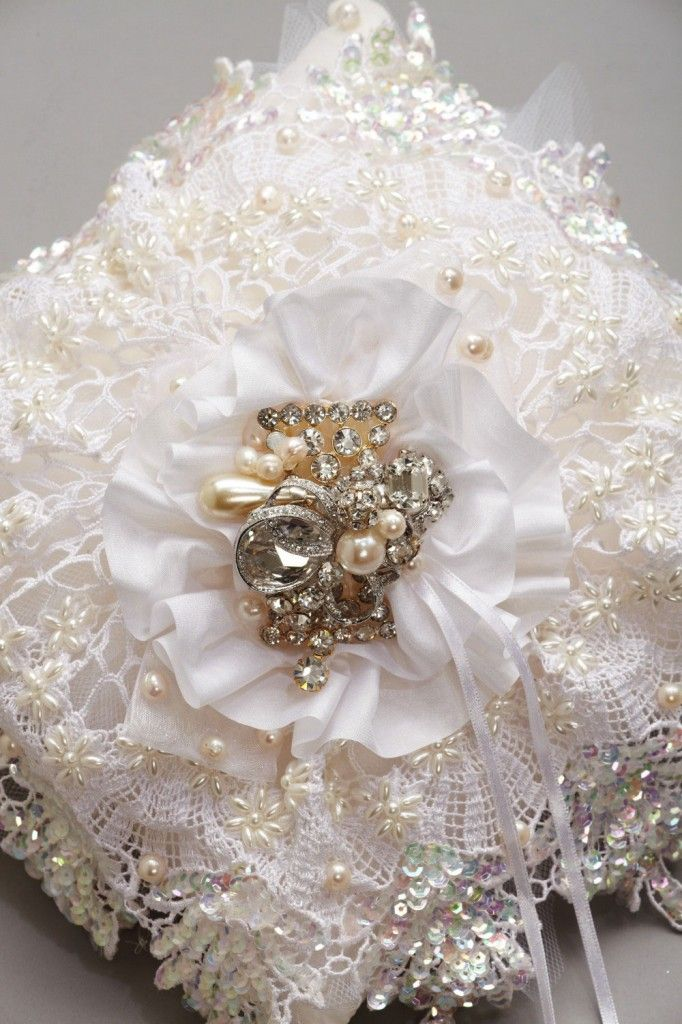 pearls and lace  | Embroidered Pearl and Crystal Lace Ring Pillow