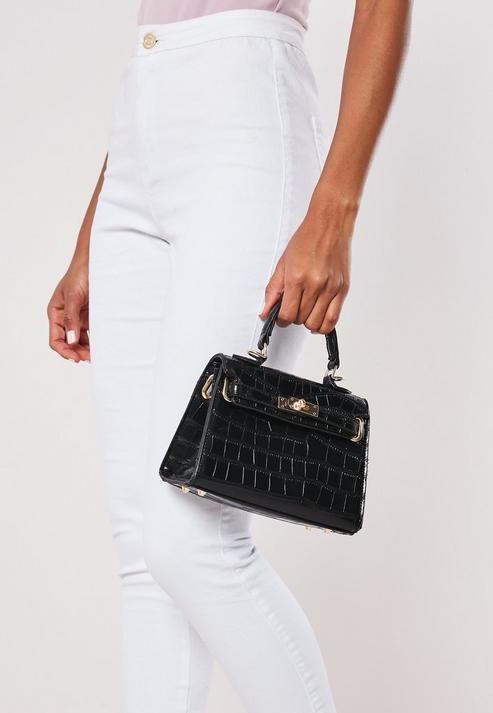 Missguided - Black Croc Mini Handbag