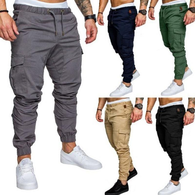 Mens Casual Jogger Sweatpants Basic Jogger Pant Elastic Waist Military Army Combat Work Cargo Pants with Pocket