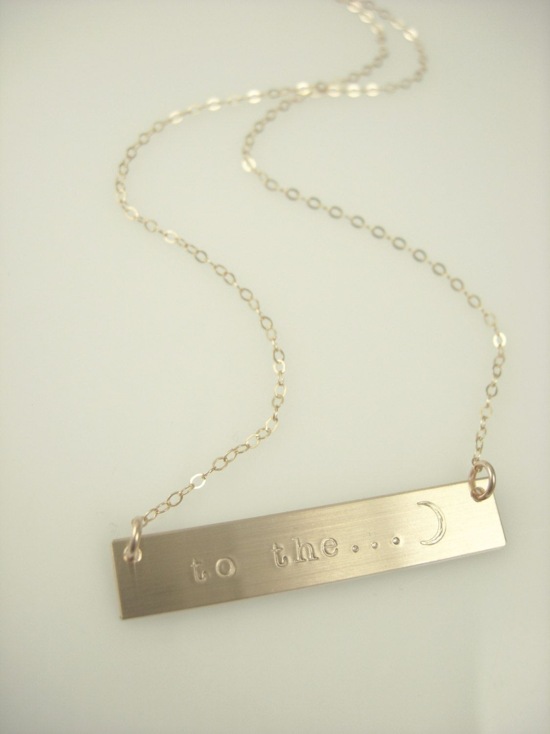 Moon Bar Necklace Personalized Gold Bar Necklace Nameplate