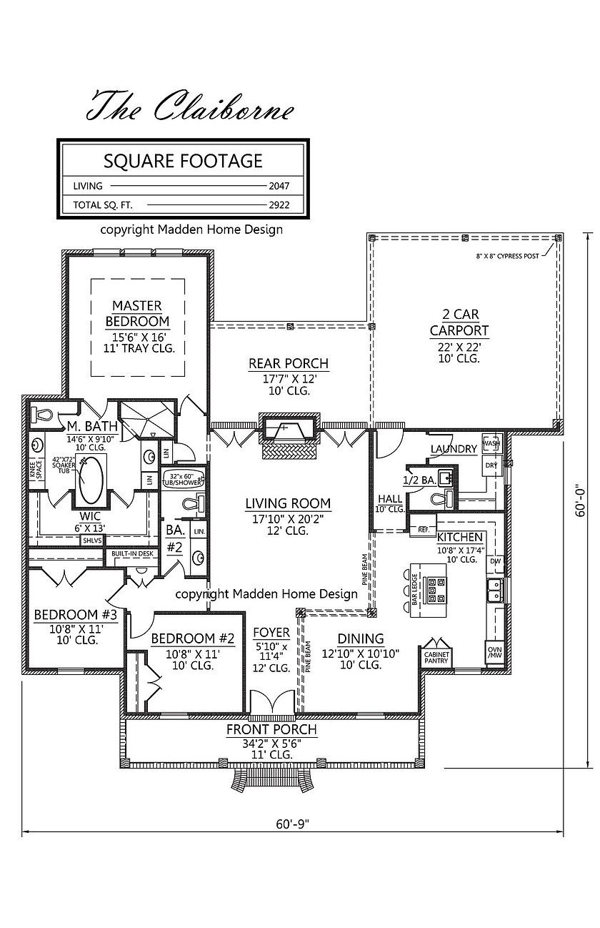 Acadian style house plan, The Claiborne, Madden Home Design, 3 ...