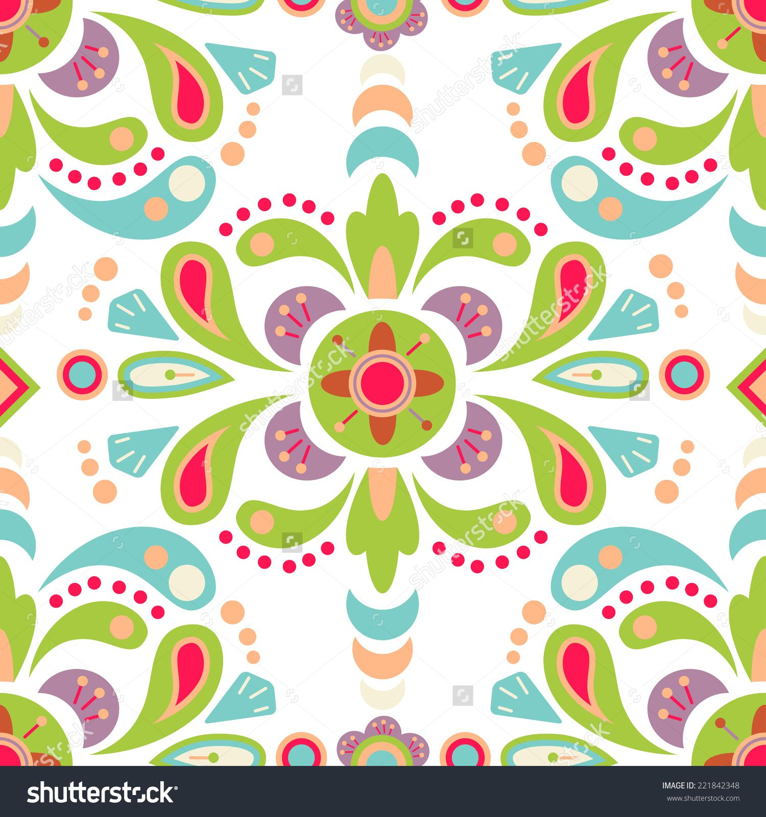 Floral Damask Seamless Pattern Background, Mexican Colorful Ornament  Stock