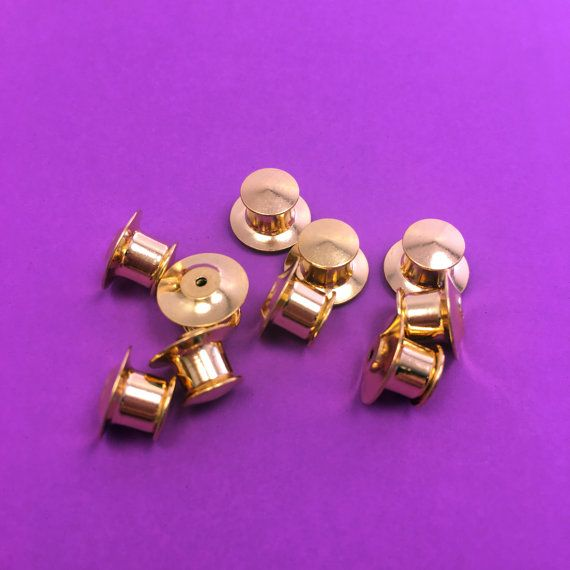 Vintage Silver color Locking Pin Backs enamel lapel brooch hat lock clutch 20