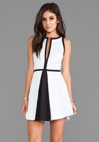 Bb Dakota Derry Colorblock Palio Linen Dress In Optic White Black