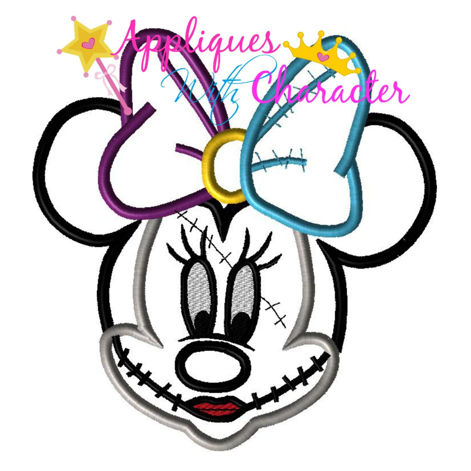 Nightmare Before Christmas Inspired Minnie Sally Face Applique ...