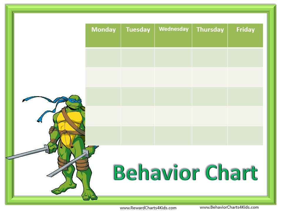 Behavior Free Behavior Charts (Ninja Turtles) Learning - blank reward chart template