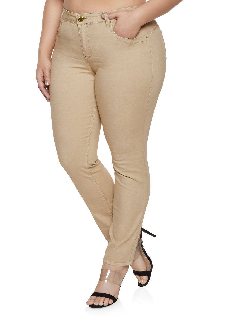 d18ca507a57 Plus Size Khaki Skinny Pants