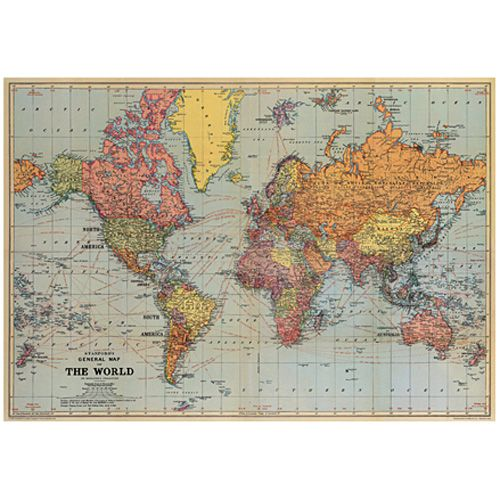 Vintage posterwrap map of the world vintage posters vintage this vintage posterwrap features the a general map of the world gumiabroncs Choice Image