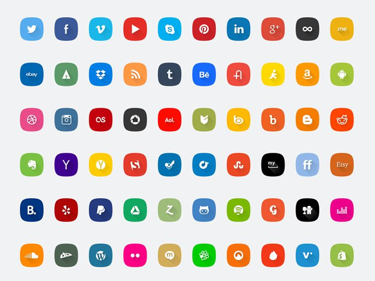 This freebie includes 60 social media icons in 7 different styles.