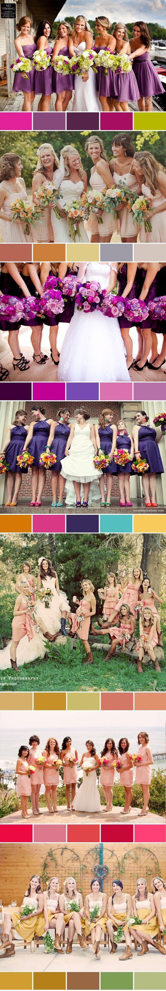 Amazing wedding color schemes fairytales can come true 3 good website for wedding color schemes i like the purple bridesmaid dresses with diffferent colored shoes ombrellifo Image collections
