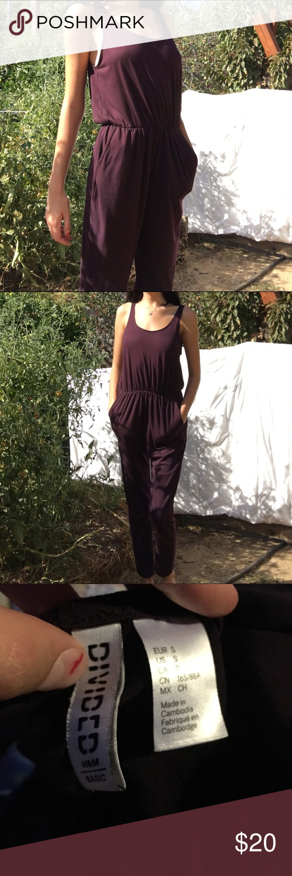 Pant suit 70% polyester & 30% viscose. Never worn. H&M Pants Jumpsuits & Rompers