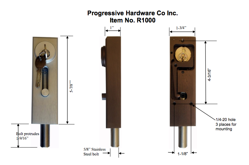 R1000 Revolving Door Sliding Door Drop Bolt Lock By Progressive Hardware