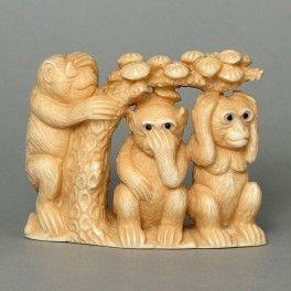Mammoth Ivory Netsuke Three Wise Monkeys On Tree Carving N4576