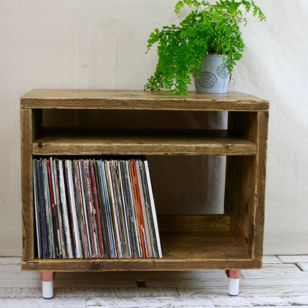 Reclaimed Wood Record Player Stand Scaffold Industrial Unit Vinyl Tv Copper Leg In Home Furniture Amp