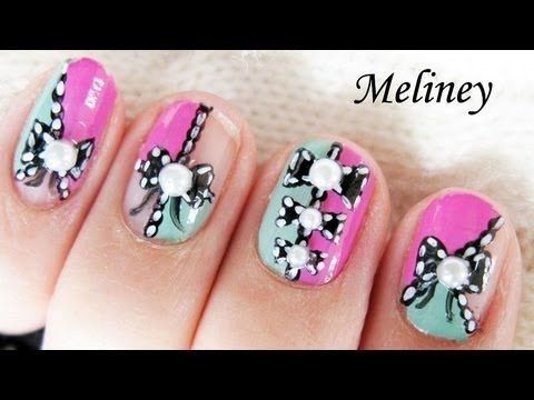 Color Blocking Lace Bow Nails Nail Art Tutorial For Short Nail