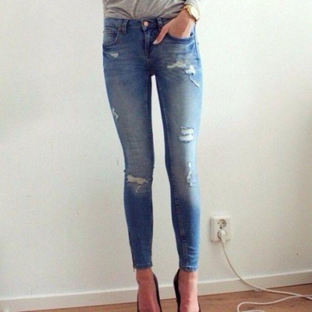 Ripped Skinny Jeans Tumblr | fashionstar.xyz | Pinterest | Perfect ...