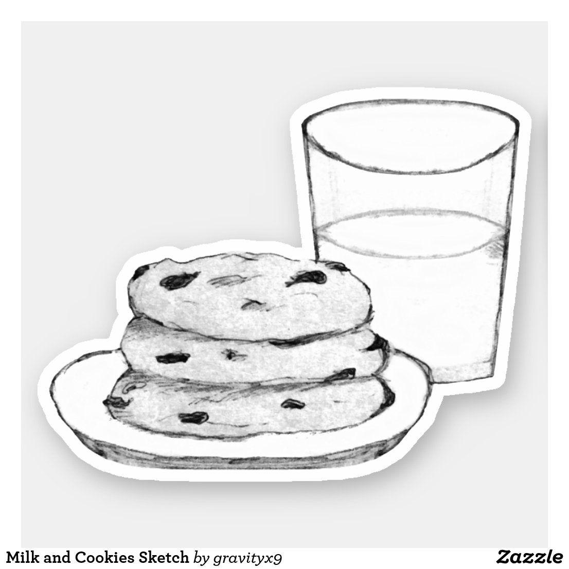 Milk And Cookies Sketch Sticker Zazzle Com Cookie Drawing Milk N Cookies Milk Drawing