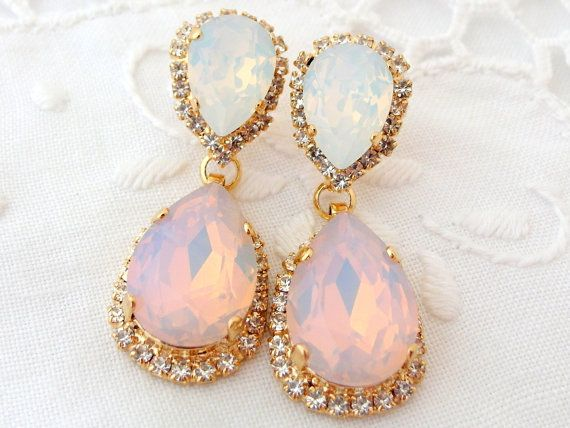 Pink White Opal Chandelier Earrings Bridal By Eldortinajewelry 84 00