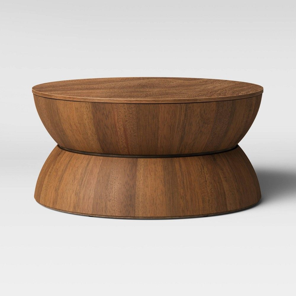 Prisma Round Natural Wood Turned Drum Coffee Table Brown Project 62 Drum Coffee Table Coffee Table Wood Project 62 [ 1000 x 1000 Pixel ]