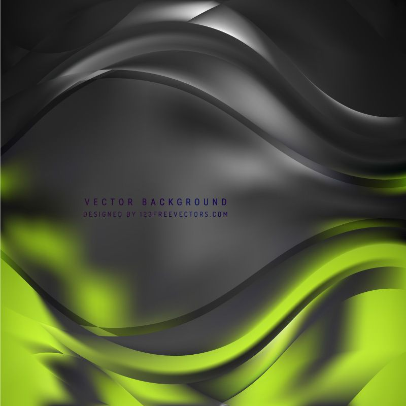 Abstract Black Green Wave Background