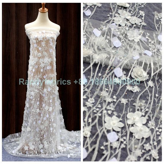Price: The price is for 1yard.1 yard=120cm wide*91cm length,if you buy more than one yard, it is will come in one yard. We also accept wholesale, start 15 yards.  Material: polyester ,metallic,pearls,stones  Wide : 120cm or 47inches  color: Off-white,red,purple  The off-white listing: https://www.etsy.com/listing/260208428  The red listing: https://www.etsy.com/listings/261903626  The purple listing: https://www.etsy.com/listing/262026762  Shipping: Shipping by China post air mail;if you…