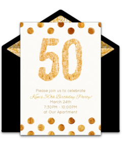 Customizable Free Golden 50 Online Invitations Easy To Personalize And Send For A 50th Birthday Party Punchbowl