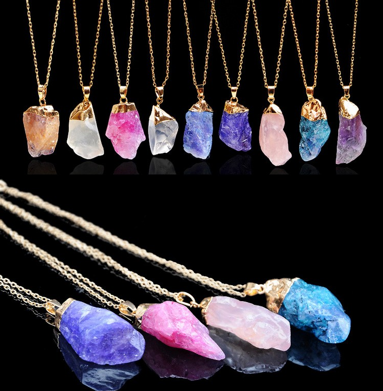 Natural Stone Chakra Healing Point Rock Pendant For Necklace Women Jewelry Gift