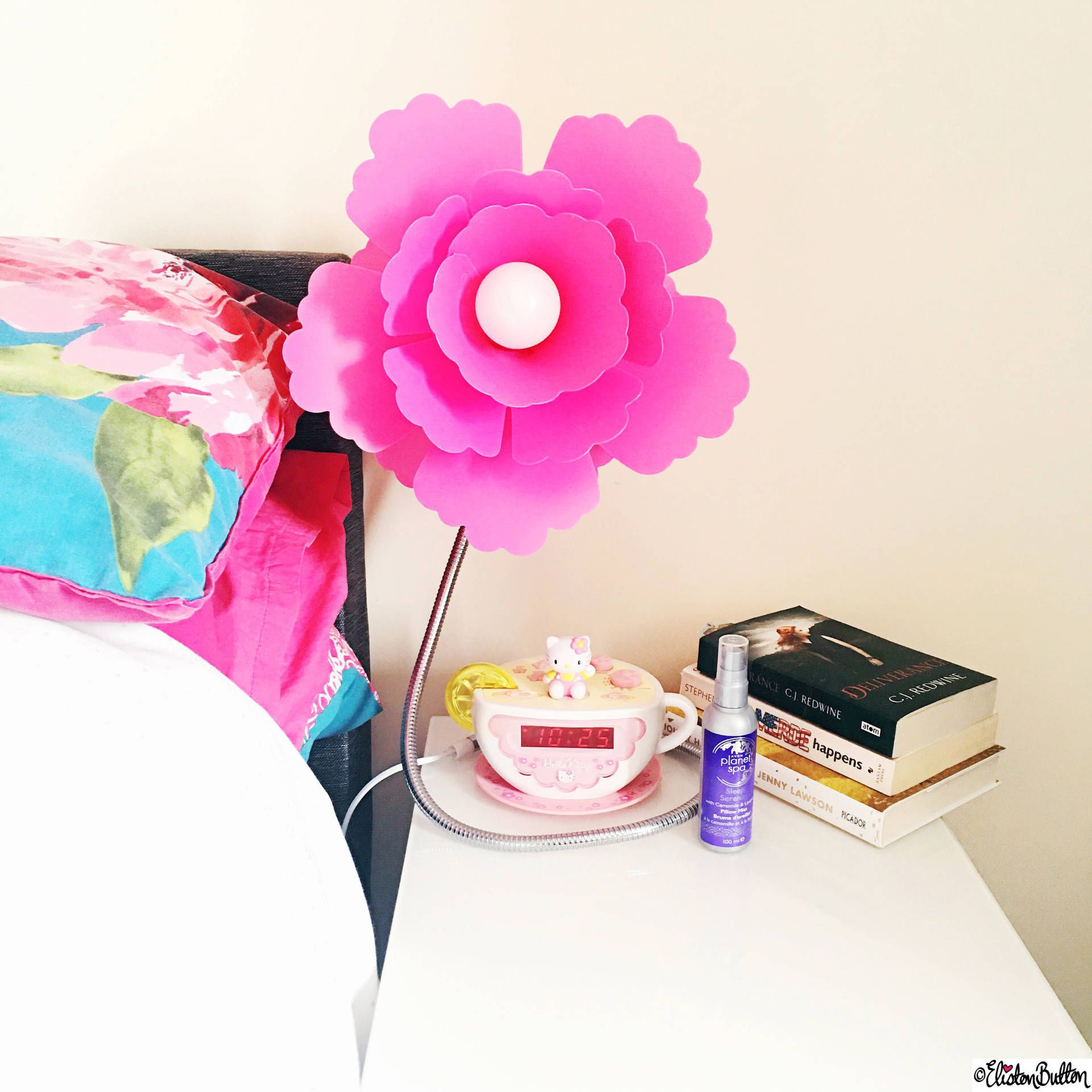 Day 28 View From Bed Pink Flower Lamp Books And Hello Kitty