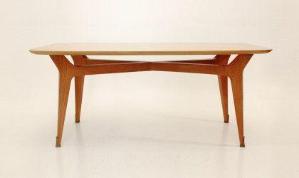 Tavolo in legno anni 50 piedini in ottone,vintage italian ...