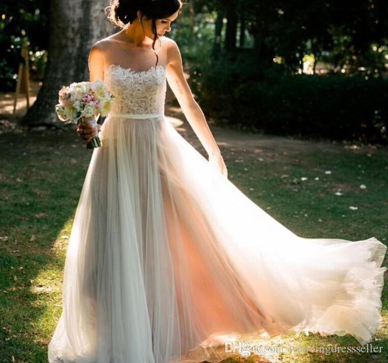 Elegante Boho Spitze Mieder Hochzeit Kleid Sheer Neck Backless ...