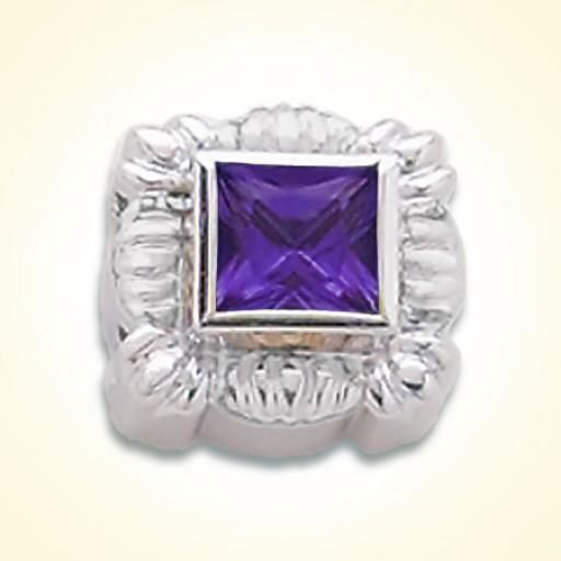 6x6 millimeter princess cut synthetic sapphire purple set in sterling silver slide for GK Coloures Collection Metal:Sterling Silver Designer:Goldman-Kolber $ 100.00 Item #: L7KQ54 Call 870-863-8818 for personal consultation.